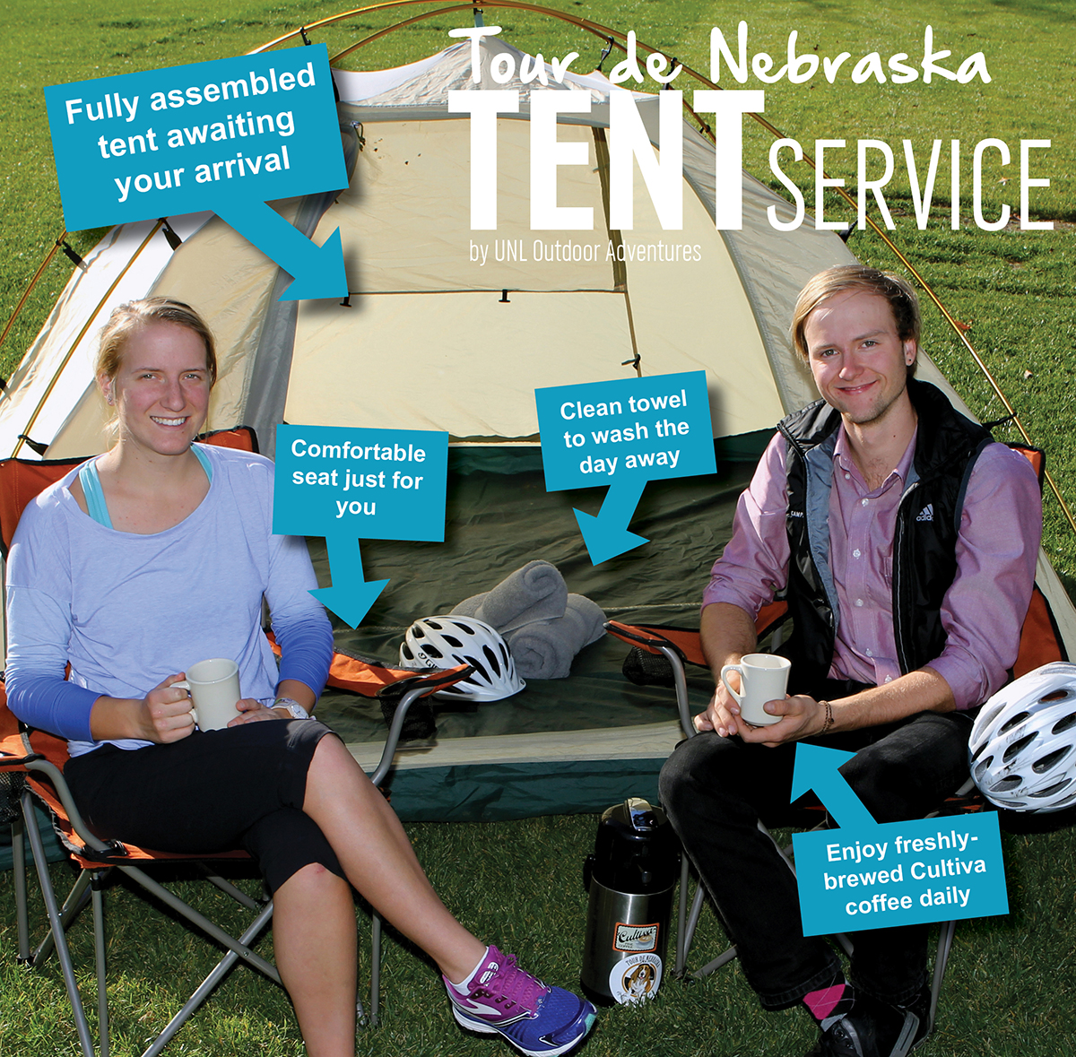 Tent service diagram with tent setup, clean towel each day and chair to sit in.