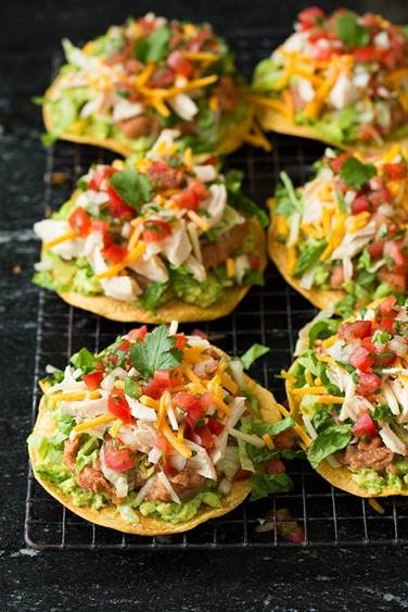 Picture of Chicken, Guacamole and Bean Tostadas